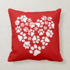 Dog Paw Prints Valentine Heart Cushion