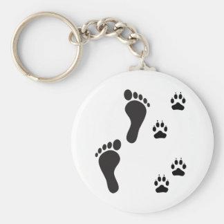 Dog paw prints with Human foot print Key Ring