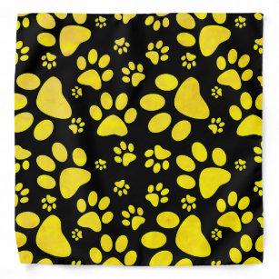Dog Paw Prints Yellow Bandana