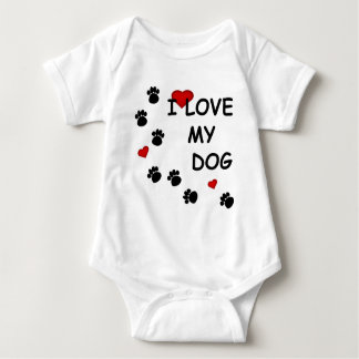 Dog Paw Tracks I Love my Dog Hearts Infants Baby Bodysuit