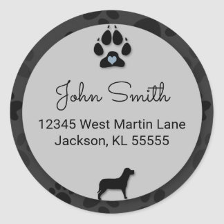 Dog Paw with Blue Heart and Black for Address Classic Round Sticker
