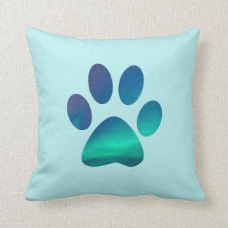 Dog Pawprint Aurora Northern Lights Throw Pillow