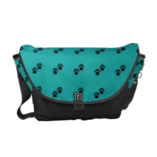Dog Paws On Teal Commuter Bag