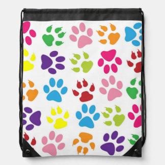 Dog Paws Pattern Drawstring Bag