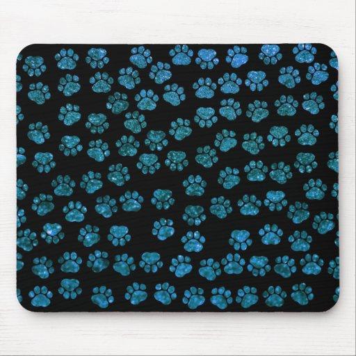 Dog Paws, Paw-prints, Glitter - Blue Black Mousepad