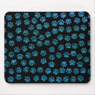 Dog Paws Paw-prints Glitter - Blue Black Mousepad