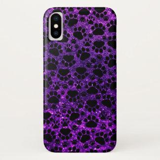 Dog Paws, Paw-prints, Glitter - Purple Black iPhone X Case