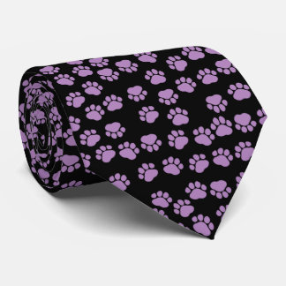 Dog Paws, Traces, Paw-prints - Purple Black Tie