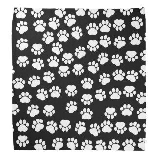 Dog Paws, Traces, Paw-prints - White Black Bandana