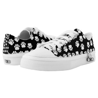 Dog Paws, Traces, Paw-prints - White Black Low Tops