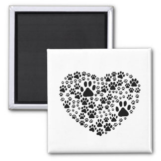 Dog Paws, Trails, Paw-prints, Heart - Black Square Magnet