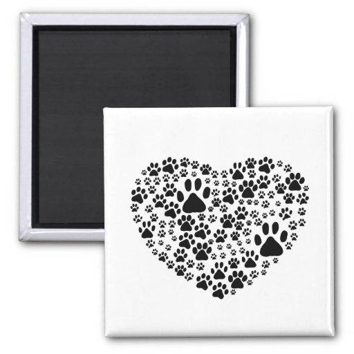 Dog Paws, Trails, Paw-prints, Heart - Black Fridge Magnet