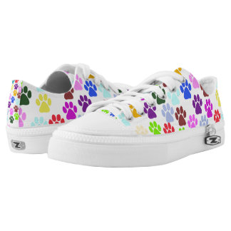 Dog Paws, Trails, Paw-prints - Red Blue Green Low Tops
