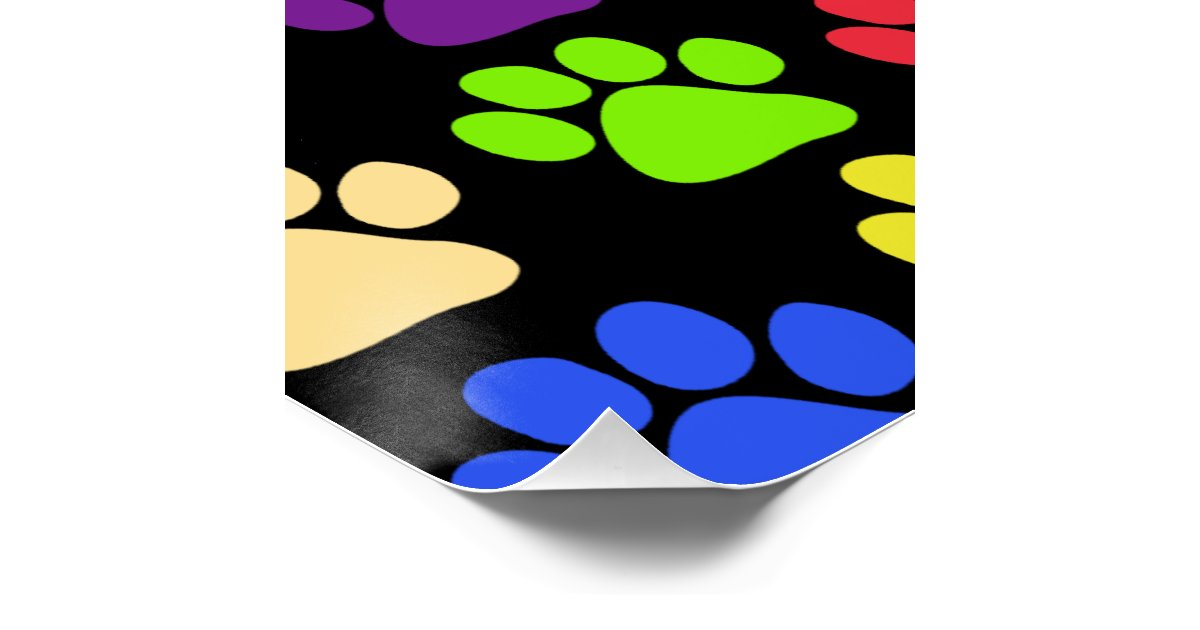 Dog Paws Trails Paw Prints Red Blue Green Poster Zazzle