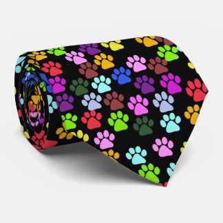 Dog Paws, Trails, Paw-prints - Red Blue Green Tie
