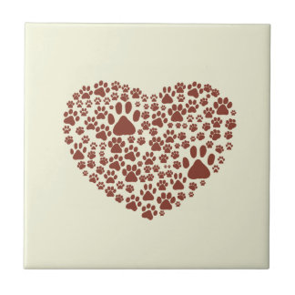 Dog Paws Trails Pawprints Heart Beige, Brown Small Square Tile