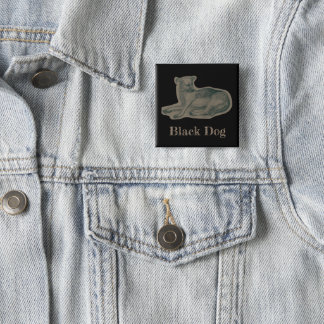 Dog. Pencil drawing. 15 Cm Square Badge