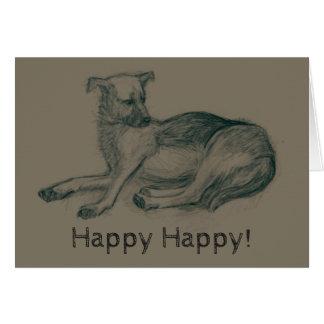 Dog. Pencil drawing. Card