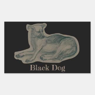 Dog. Pencil drawing. Rectangular Sticker