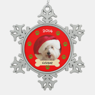 Dog Photo Christmas Ornament in Snowflake