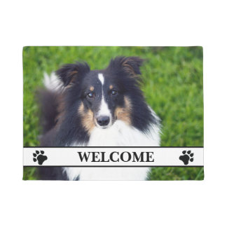 Dog Photo Template With Paws And Welcome Text Doormat