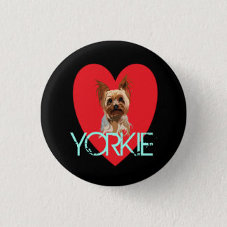 Dog Pin: Yorkie Heart 3 Cm Round Badge
