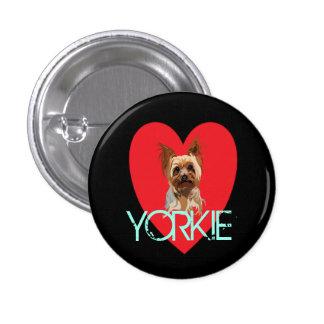 Dog Pin: Yorkie Heart 3 Cm Round Badge