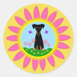 Dog Pink Daisy Stickers