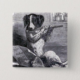 """Dog Playing the Flute"" Vintage Illustration 15 Cm Square Badge"