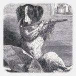 """Dog Playing the Flute"" Vintage Illustration Square Sticker"