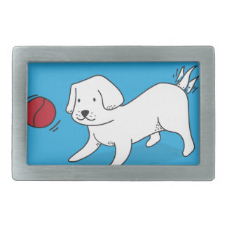 Dog playing with a Ball Rectangular Belt Buckles