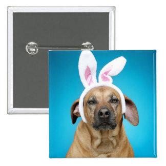 Dog portrait wearing Easter bunny ears Pin