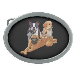 Dog posse with cat belt buckles
