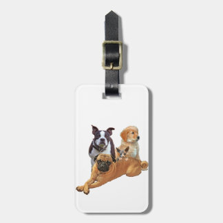 Dog posse with cat luggage tag