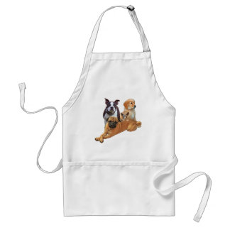 Dog posse with cat standard apron