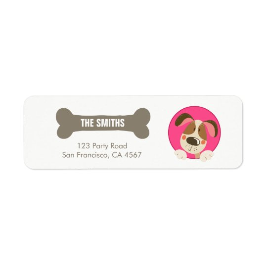 Dog puppy Address Label Paw-ty birthday Girl Pink