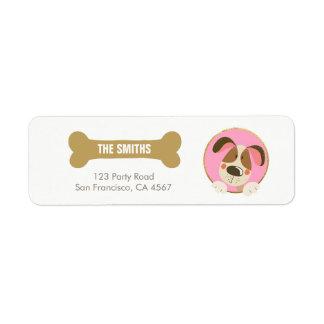 Dog puppy Address Label Paw-ty birthday Pink Gold