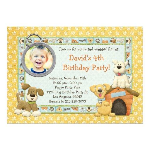 Dog Puppy Birthday Party Invitation