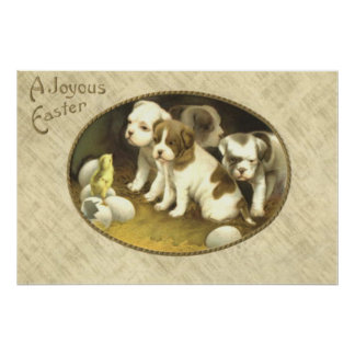 Dog Puppy Easter Chick Egg Poster