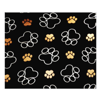 Dog Puppy Paw Prints Gifts Black and Gold Art Photo
