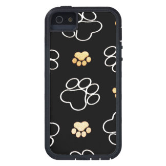 Dog Puppy Paw Prints Gifts Black and Gold iPhone 5 Cases