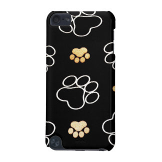 Dog Puppy Paw Prints Gifts Black and Gold iPod Touch (5th Generation) Case