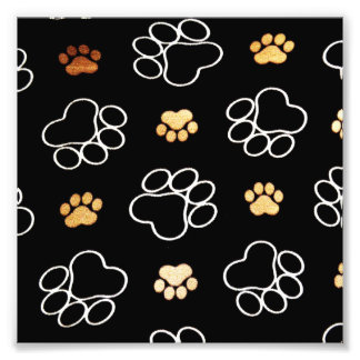 Dog Puppy Paw Prints Gifts Black and Gold Photo
