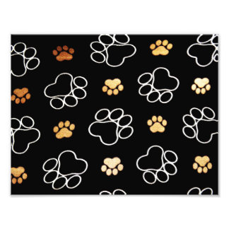 Dog Puppy Paw Prints Gifts Black and Gold Photograph