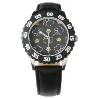 Dog Puppy Paw Prints Gifts Black and Gold Wrist Watch