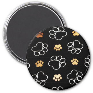 Dog Puppy Paw Prints Gifts for Dog Lovers 7.5 Cm Round Magnet
