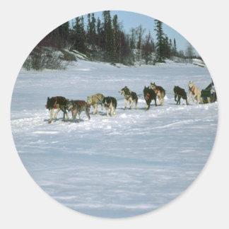 Dog racing, Yukon Classic Round Sticker