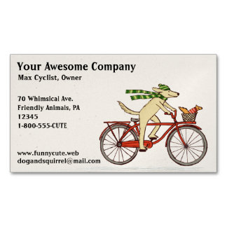 Dog Riding a Bicycle with Squirrel   Cute Animals Magnetic Business Cards