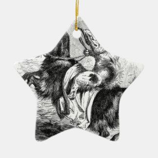 Dog Riding a Goat Ceramic Ornament