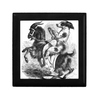 Dog Riding a Goat Small Square Gift Box